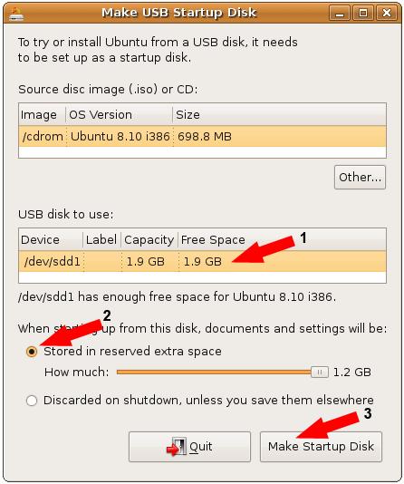Tentukan flash disk tujuan, maksimalkan pemanfaatan kapasitas, dan klik Make Startup Disk