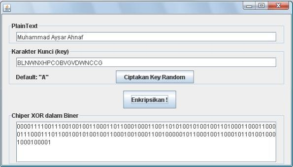 Program enkripsi XOR dengan Java