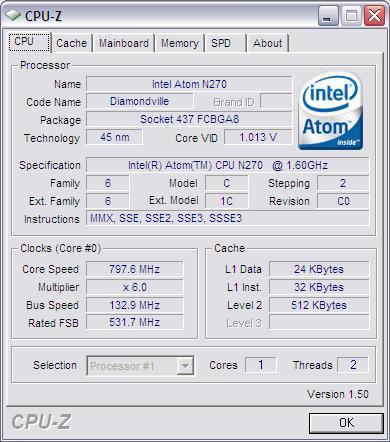Detail Processor Intel Atom N270 (CPU-Z)