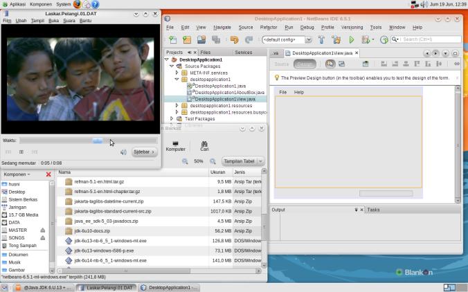 Tampilan BlankOn 5.0 Nanggar dan Netbeans Terbaru di dalamnya