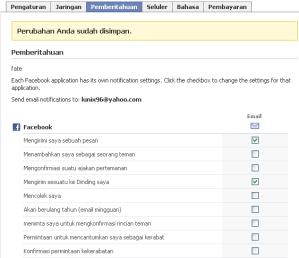 Halaman Email Notification untuk mengatur email menyangkut apa saja yang ingin diterima dari FB